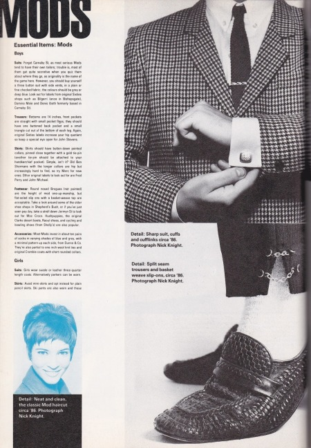 MODS in THE i-D STYLE BIBLE (1987) EMPHASIS IS VERY MUCH ON THE SMALL DETAILS IN WHICH TRUE MODS TAKE PRIDE.
